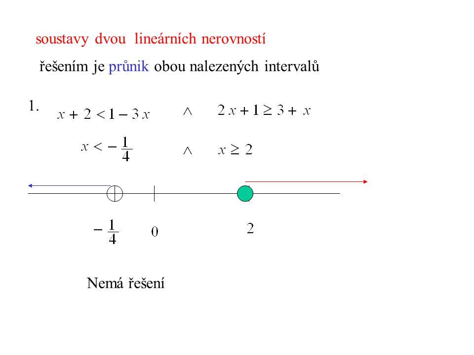 soustavy dvou lineárních nerovností řešením je průnik obou nalezených intervalů 1. Nemá řešení