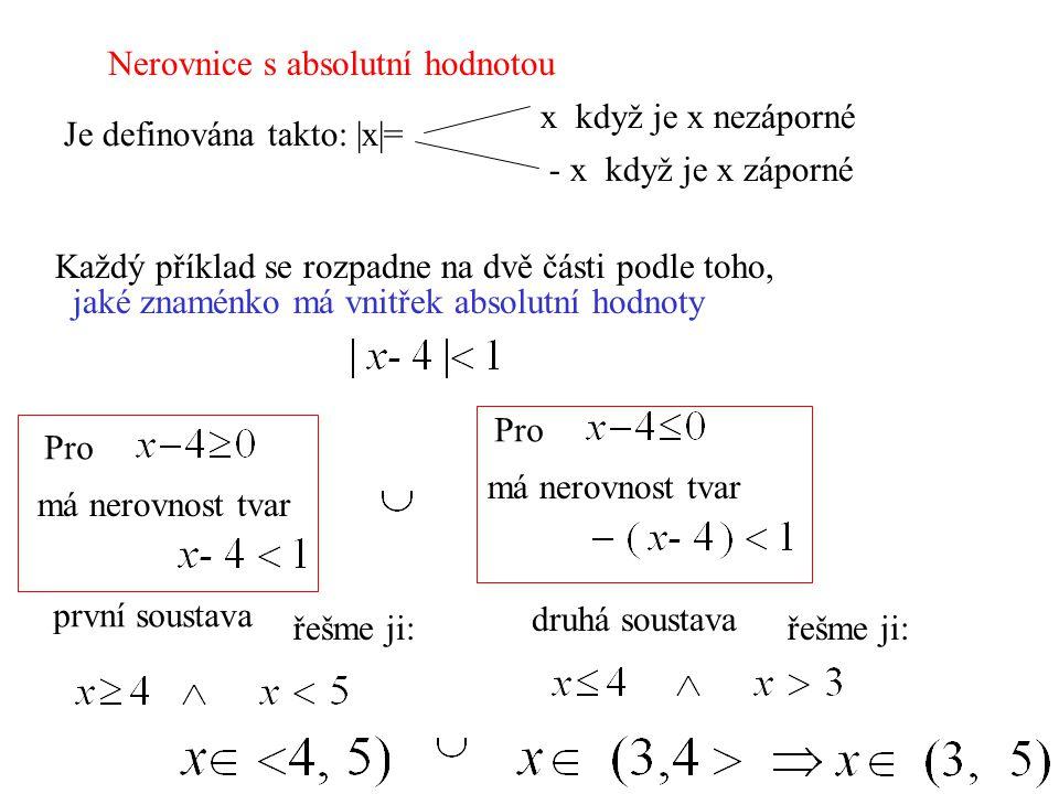 Nerovnice s absolutní hodnotou Každý příklad se rozpadne na dvě části podle toho, jaké znaménko má vnitřek absolutní hodnoty Je definována takto: |x|=