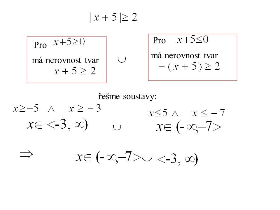 Pro má nerovnost tvar Pro má nerovnost tvar řešme soustavy: