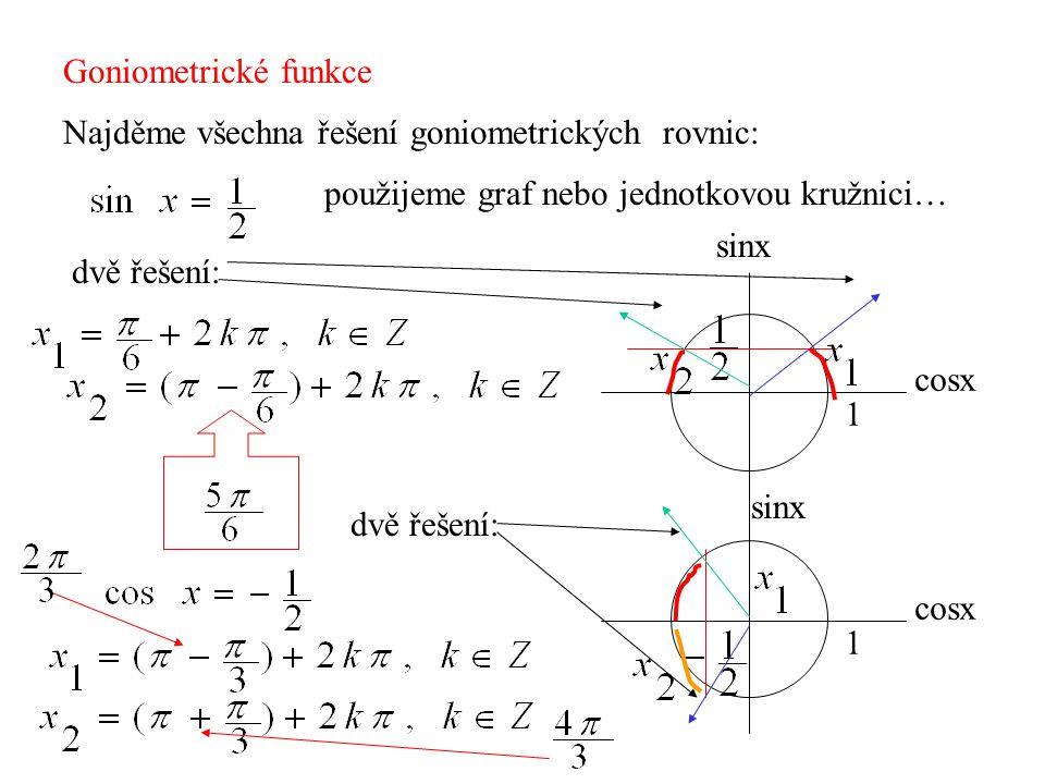 Goniometrické funkce Najděme všechna řešení goniometrických rovnic: použijeme graf nebo jednotkovou kružnici… 1 cosx sinx dvě řešení: 1 cosx sinx dvě