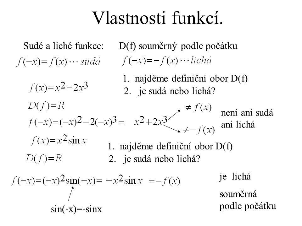 Sudé a liché funkce: 1. najděme definiční obor D(f) 2. je sudá nebo lichá? není ani sudá ani lichá 1. najděme definiční obor D(f) 2. je sudá nebo lich