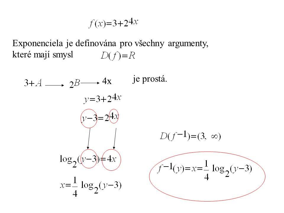 Exponenciela je definována pro všechny argumenty, které mají smysl 4x je prostá.