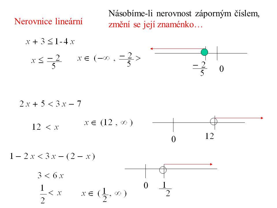 Nerovnice lineární 0 0 0 Násobíme-li nerovnost záporným číslem, změní se její znaménko…
