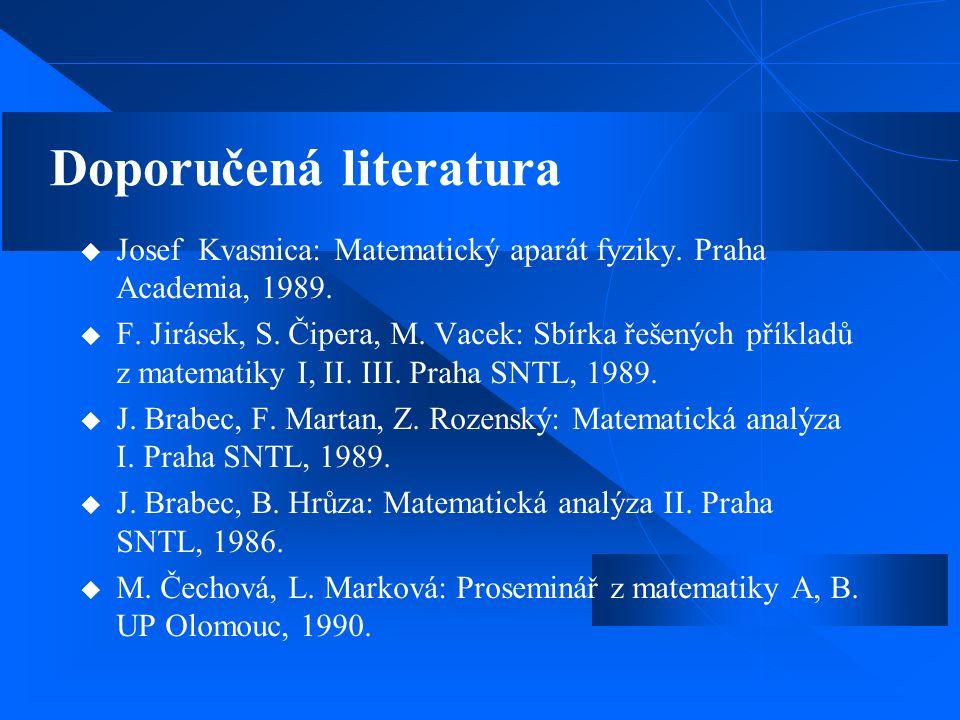 Doporučená literatura  Josef Kvasnica: Matematický aparát fyziky. Praha Academia, 1989.  F. Jirásek, S. Čipera, M. Vacek: Sbírka řešených příkladů z