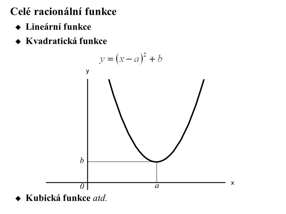 Celé racionální funkce  Lineární funkce  Kvadratická funkce  Kubická funkce atd.