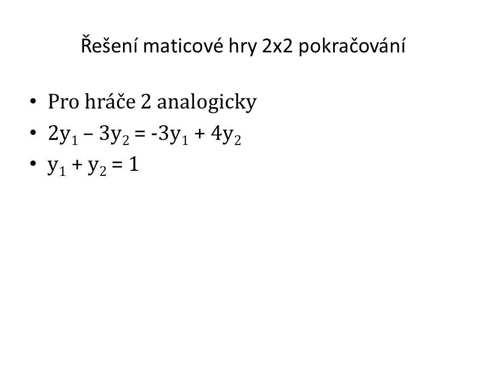 Řešení maticové hry 2x2 pokračování Pro hráče 2 analogicky 2y 1 – 3y 2 = -3y 1 + 4y 2 y 1 + y 2 = 1