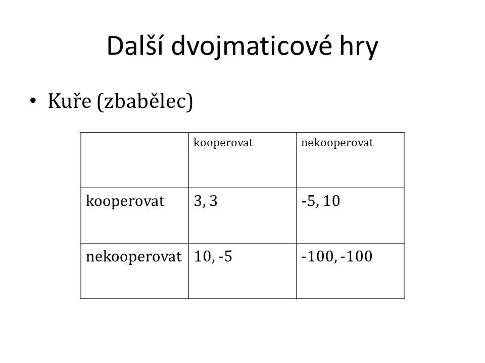Další dvojmaticové hry Kuře (zbabělec) kooperovatnekooperovat kooperovat3, 3-5, 10 nekooperovat10, -5-100, -100