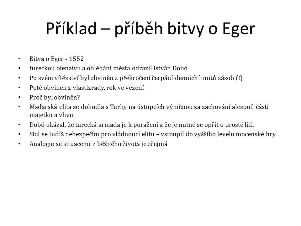 Příklad – příběh bitvy o Eger Bitva o Eger - 1552 tureckou ofenzívu a obléhání města odrazil István Dobó Po svém vítězství byl obviněn z překročení čerpání denních limitů zásob (!) Poté obviněn z vlastizrady, rok ve vězení Proč byl obviněn.
