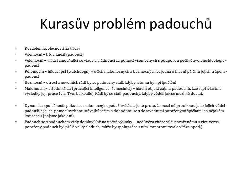 Kurasův problém padouchů Rozdělení společnosti na třídy: Všemocní – třída kněží (padouši) Velemocní – vládci zmocňující se vlády a vládnoucí za pomoci