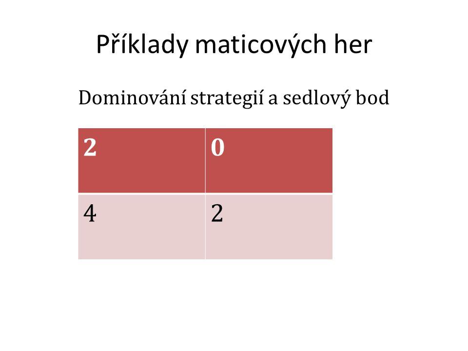 Příklady maticových her Dominování strategií a sedlový bod 20 42