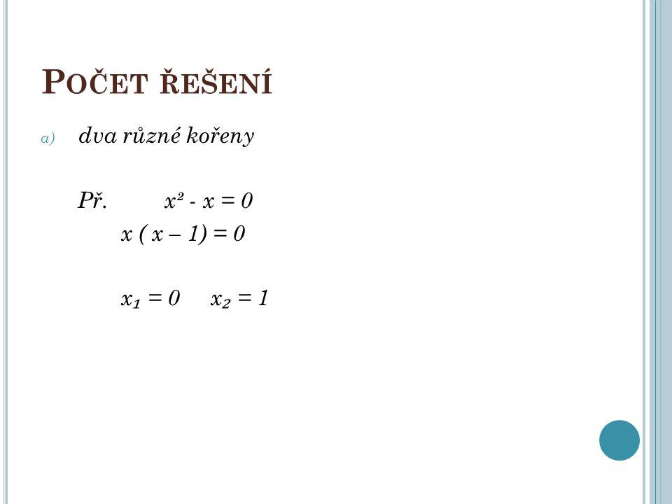 P OČET ŘEŠENÍ b) jeden dvojnásobný kořen př. x² - 2x + 1 = 0 ( x – 1) = 0 x ₁ = x ₂ = 1