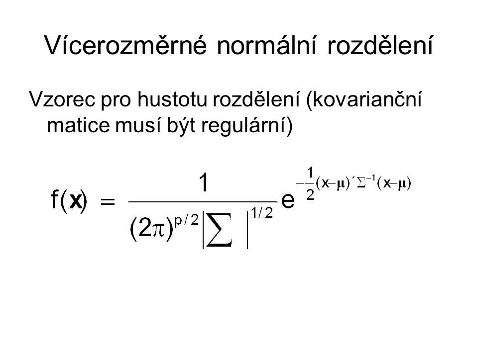 Vícerozměrné normální rozdělení Vzorec pro hustotu rozdělení (kovarianční matice musí být regulární)