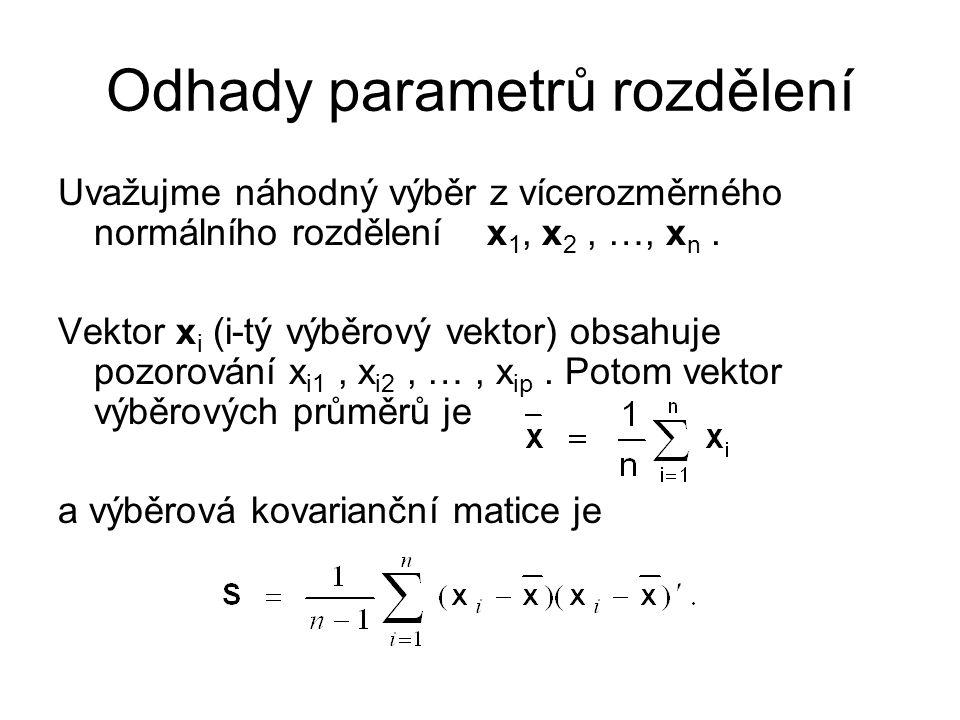 Odhady parametrů rozdělení Uvažujme náhodný výběr z vícerozměrného normálního rozdělení x 1, x 2, …, x n.