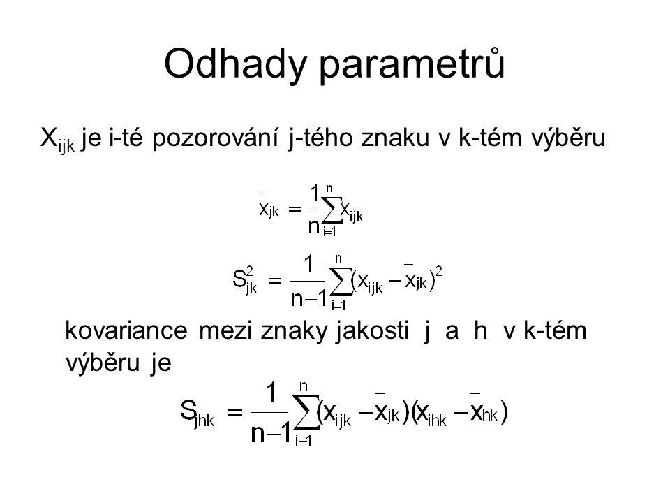 Odhady parametrů X ijk je i-té pozorování j-tého znaku v k-tém výběru kovariance mezi znaky jakosti j a h v k-tém výběru je