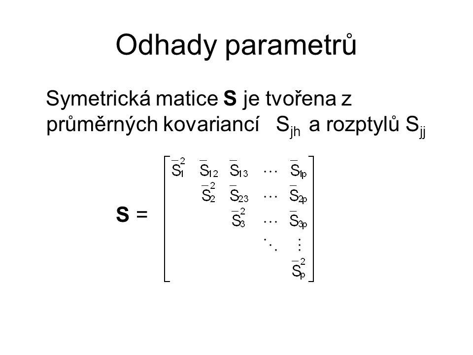 Odhady parametrů Symetrická matice S je tvořena z průměrných kovariancí S jh a rozptylů S jj S =