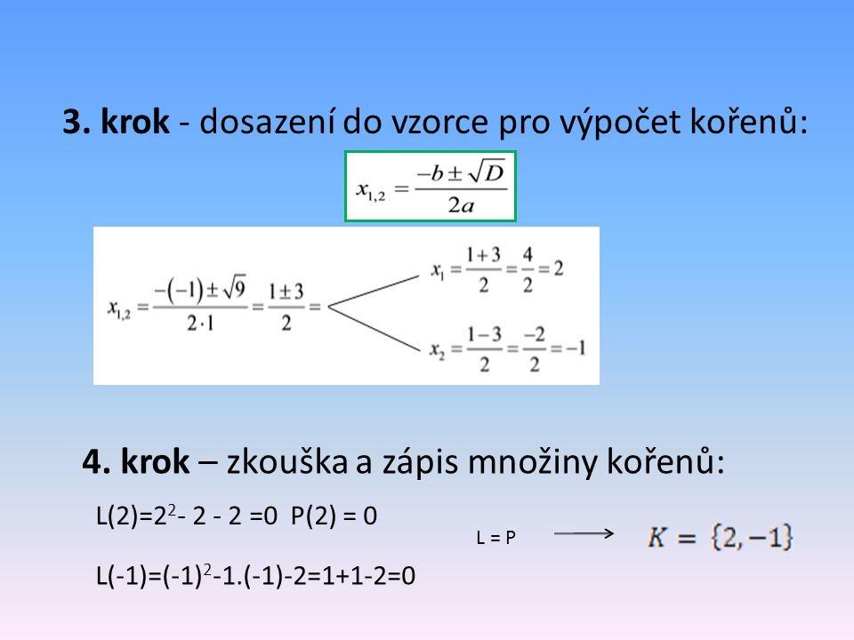 3.krok - dosazení do vzorce pro výpočet kořenů: 4.