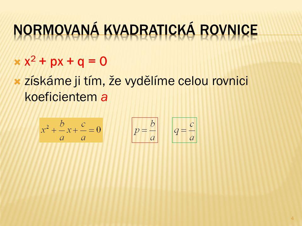  x 2 + px + q = 0  získáme ji tím, že vydělíme celou rovnici koeficientem a 4