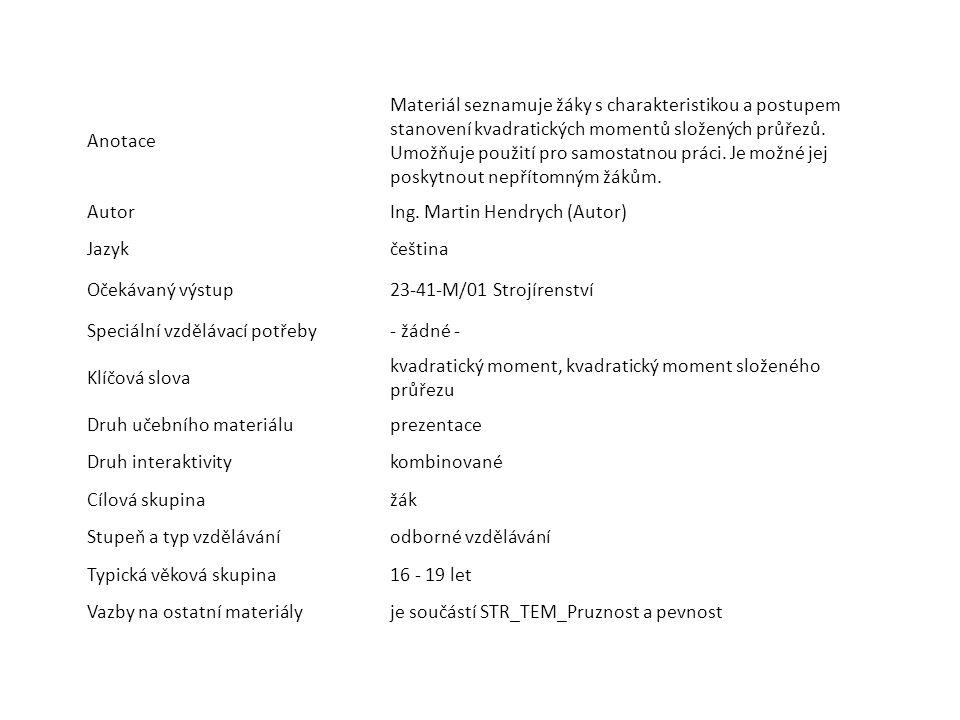 Anotace Materiál seznamuje žáky s charakteristikou a postupem stanovení kvadratických momentů složených průřezů. Umožňuje použití pro samostatnou prác