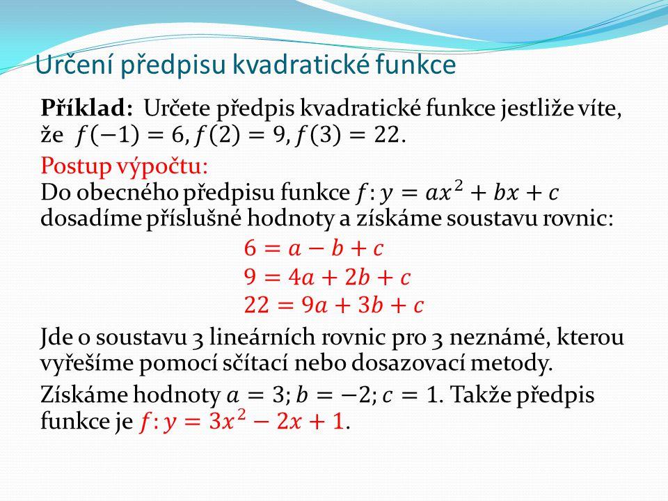 Určení předpisu kvadratické funkce