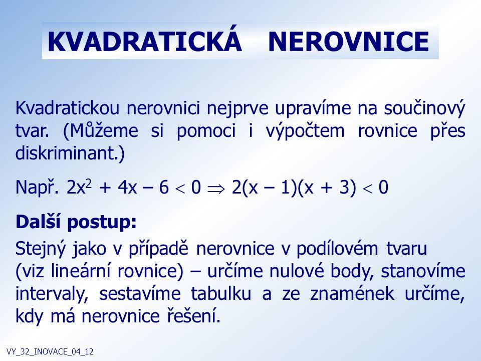 KVADRATICKÁ NEROVNICE VY_32_INOVACE_04_12 Kvadratickou nerovnici nejprve upravíme na součinový tvar. (Můžeme si pomoci i výpočtem rovnice přes diskrim