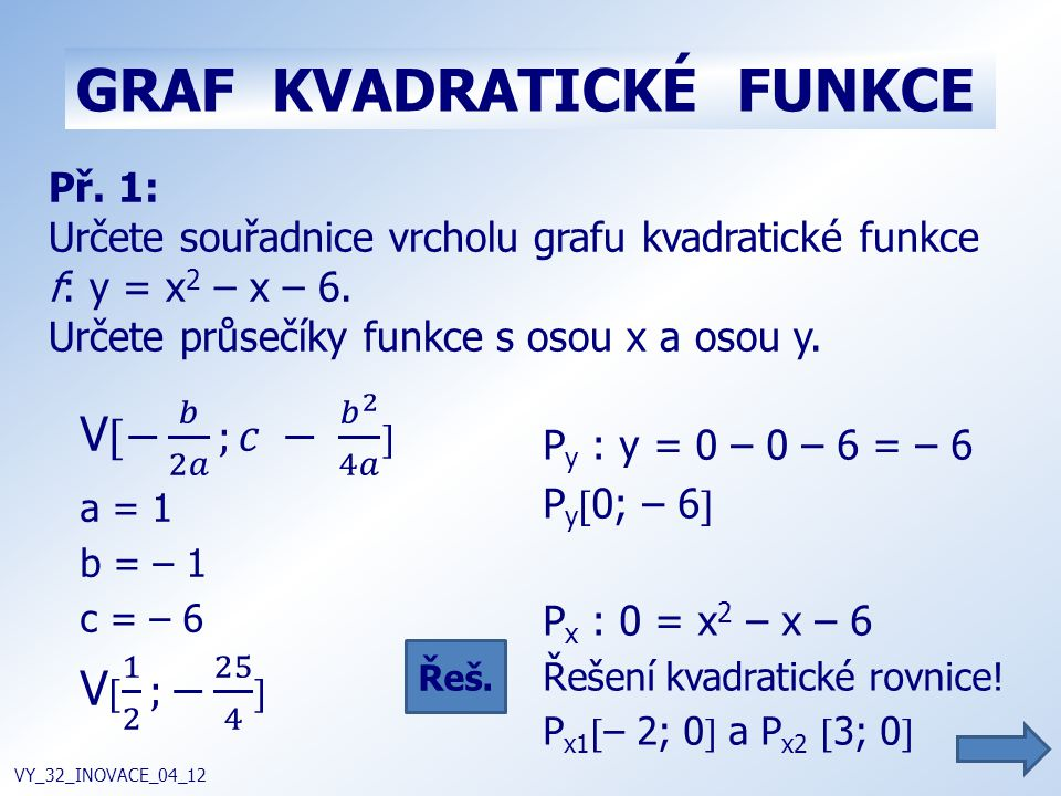 GRAF KVADRATICKÉ FUNKCE VY_32_INOVACE_04_12 Př. 1: Určete souřadnice vrcholu grafu kvadratické funkce f: y = x 2 – x – 6. Určete průsečíky funkce s os