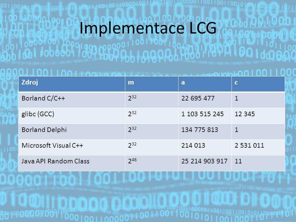 Implementace LCG Zdrojmac Borland C/C++2 32 22 695 4771 glibc (GCC)2 32 1 103 515 24512 345 Borland Delphi2 32 134 775 8131 Microsoft Visual C++2 32 214 0132 531 011 Java API Random Class2 48 25 214 903 91711