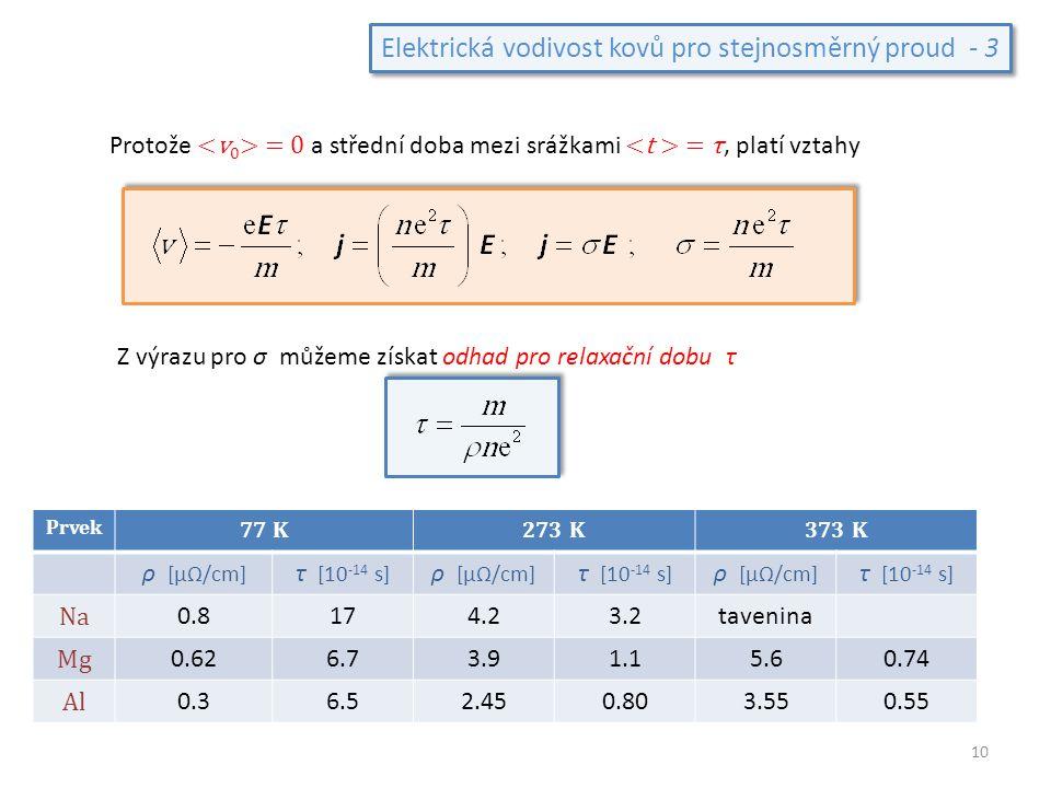 Elektrická vodivost kovů pro stejnosměrný proud - 3 Protože = 0 a střední doba mezi srážkami = τ, platí vztahy Z výrazu pro σ můžeme získat odhad pro