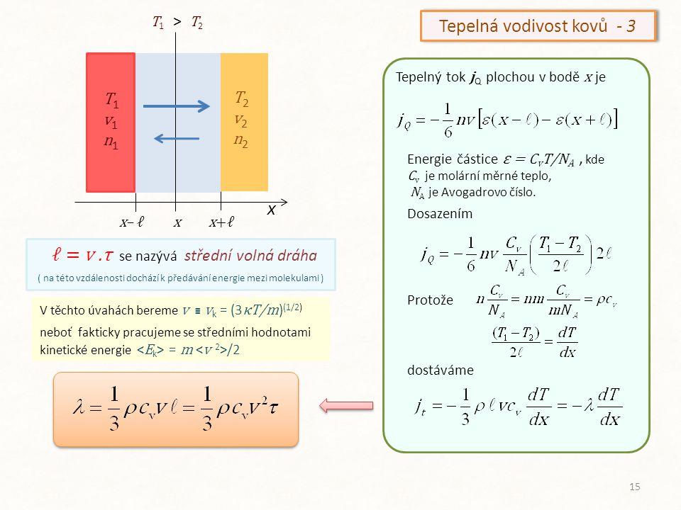 x T1v1n1T1v1n1 T2v2n2T2v2n2 x+ℓx– ℓx T 1 > T 2 V těchto úvahách bereme v ≡ v k = (3 κT/m ) (1/2) neboť fakticky pracujeme se středními hodnotami kinet