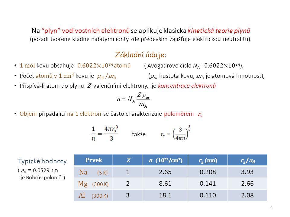 """Na """"plyn"""" vodivostních elektronů se aplikuje klasická kinetická teorie plynů (pozadí tvořené kladně nabitými ionty zde především zajišťuje elektrickou"""