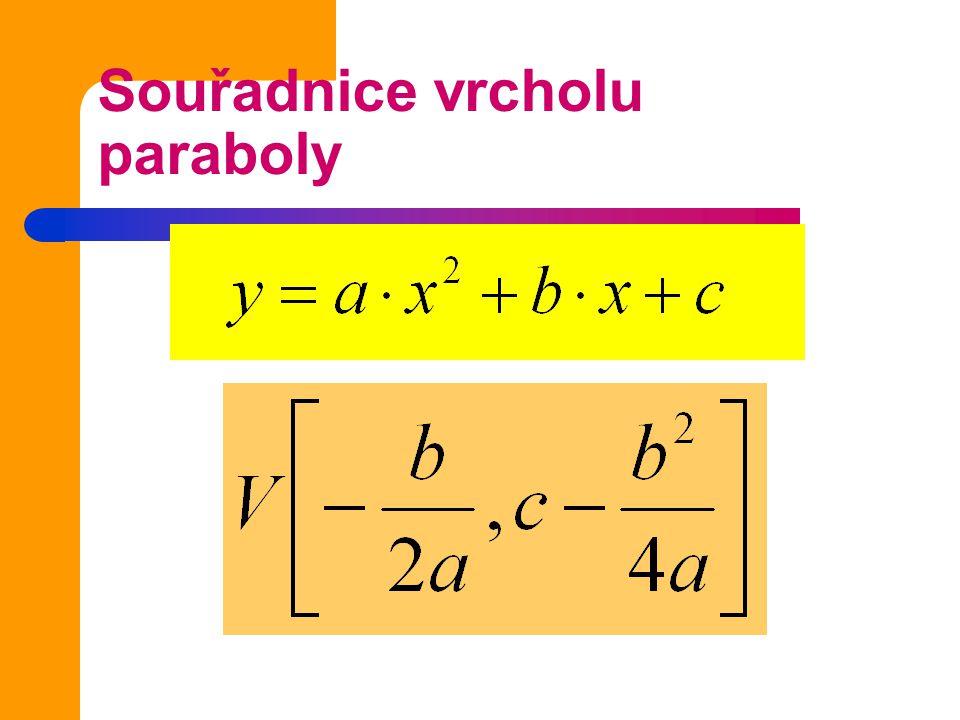 Úkol 2 Vypočítej souřadnice vrcholu paraboly dané předpisem Parabolu načrtni a =1, b= -2, c= -3