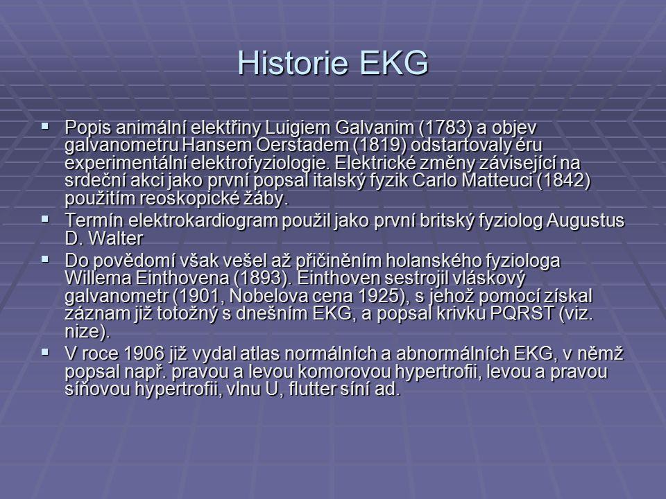 Historie EKG  Popis animální elektřiny Luigiem Galvanim (1783) a objev galvanometru Hansem Oerstadem (1819) odstartovaly éru experimentální elektrofy
