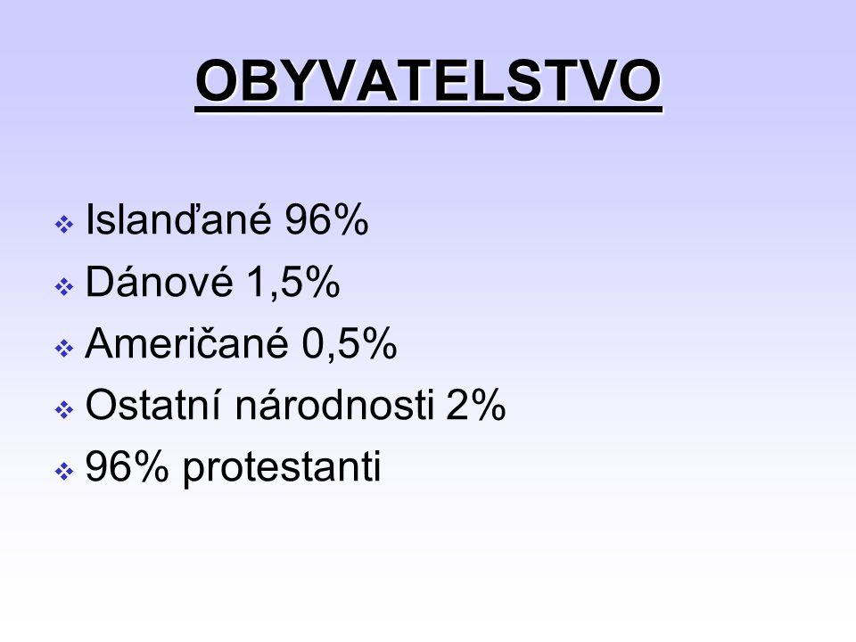 OBYVATELSTVO  Islanďané 96%  Dánové 1,5%  Američané 0,5%  Ostatní národnosti 2%  96% protestanti