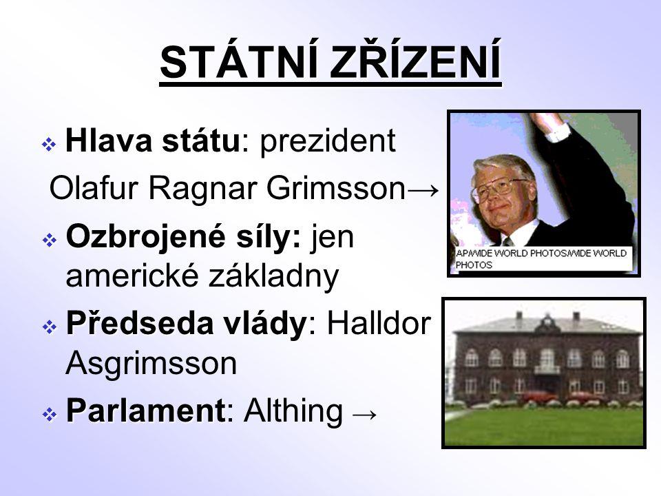 STÁTNÍ ZŘÍZENÍ  Hlava státu  Hlava státu: prezident Olafur Ragnar Grimsson→  Ozbrojené síly:  Ozbrojené síly: jen americké základny  Předseda vlá