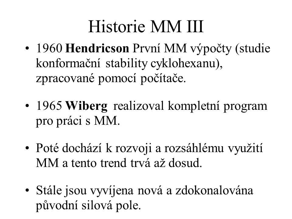 Historie MM III 1960 Hendricson První MM výpočty (studie konformační stability cyklohexanu), zpracované pomocí počítače. 1965 Wiberg realizoval komple