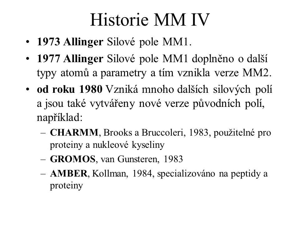 Historie MM IV 1973 Allinger Silové pole MM1. 1977 Allinger Silové pole MM1 doplněno o další typy atomů a parametry a tím vznikla verze MM2. od roku 1