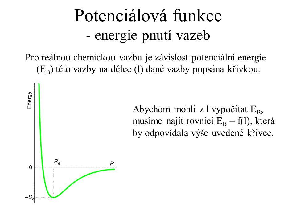 Potenciálová funkce - energie pnutí vazeb Pro reálnou chemickou vazbu je závislost potenciální energie (E B ) této vazby na délce (l) dané vazby popsá