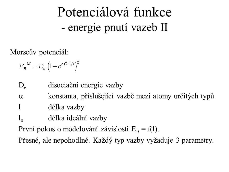 Potenciálová funkce - energie pnutí vazeb II Morseův potenciál: D e disociační energie vazby  konstanta, příslušející vazbě mezi atomy určitých typů