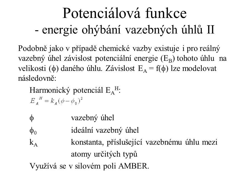Potenciálová funkce - energie ohýbání vazebných úhlů II Podobně jako v případě chemické vazby existuje i pro reálný vazebný úhel závislost potenciální