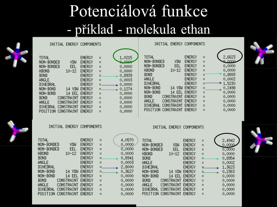 Potenciálová funkce - příklad - molekula ethan