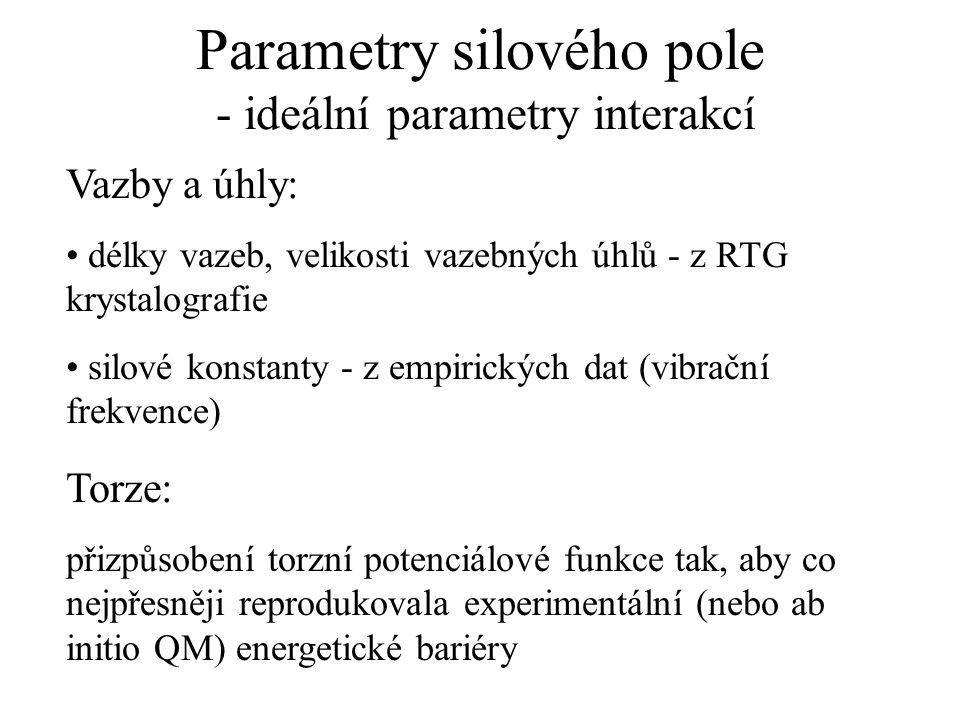 Parametry silového pole - ideální parametry interakcí Vazby a úhly: délky vazeb, velikosti vazebných úhlů - z RTG krystalografie silové konstanty - z