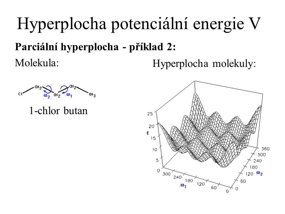 Hyperplocha potenciální energie V Parciální hyperplocha - příklad 2: Molekula: 1-chlor butan Hyperplocha molekuly: