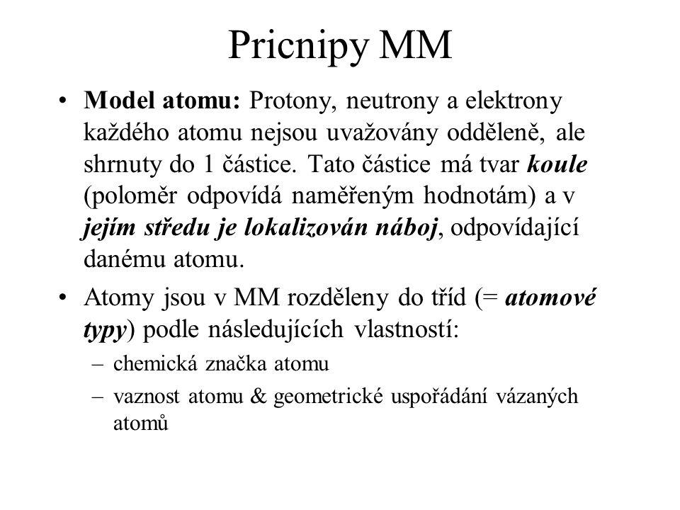 Pricnipy MM Model atomu: Protony, neutrony a elektrony každého atomu nejsou uvažovány odděleně, ale shrnuty do 1 částice. Tato částice má tvar koule (