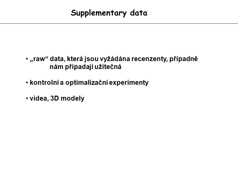 """Supplementary data """"raw data, která jsou vyžádána recenzenty, případně nám připadají užitečná kontrolní a optimalizační experimenty videa, 3D modely"""