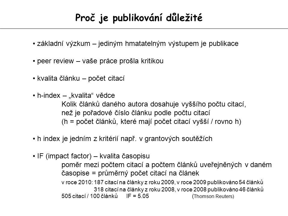 """Proč je publikování důležité základní výzkum – jediným hmatatelným výstupem je publikace peer review – vaše práce prošla kritikou kvalita článku – počet citací h-index – """"kvalita vědce Kolik článků daného autora dosahuje vyššího počtu citací, než je pořadové číslo článku podle počtu citací (h = počet článků, které mají počet citací vyšší / rovno h) h index je jedním z kritérií např."""