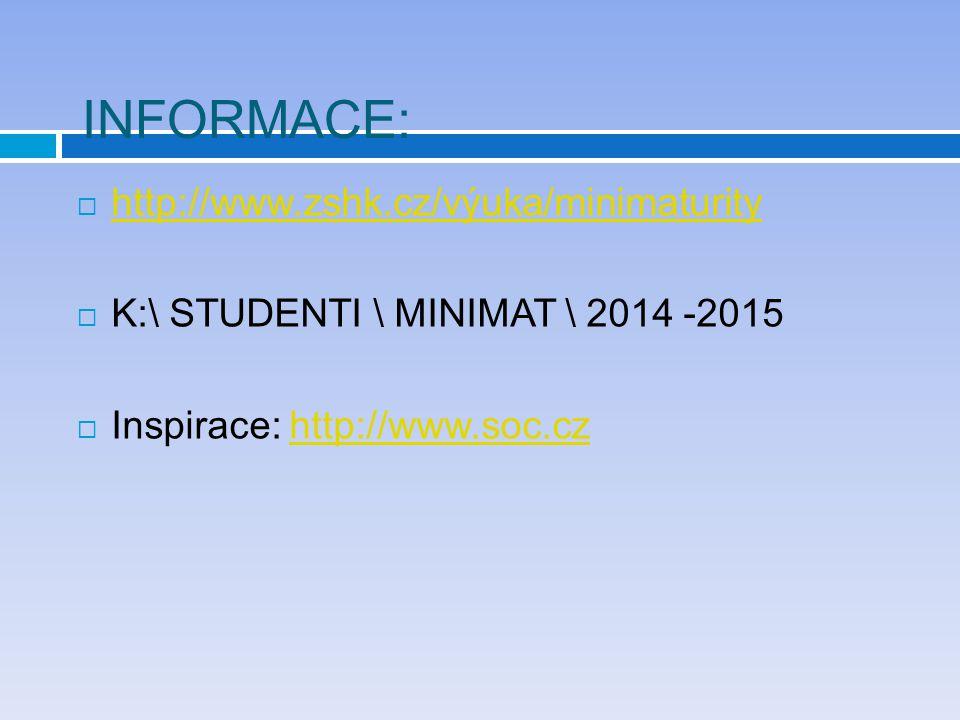 INFORMACE:  http://www.zshk.cz/výuka/minimaturity http://www.zshk.cz/výuka/minimaturity  K:\ STUDENTI \ MINIMAT \ 2014 -2015  Inspirace: http://www