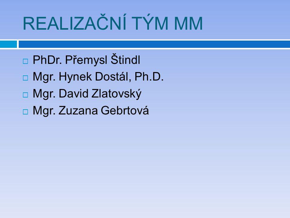 REALIZAČNÍ TÝM MM  PhDr. Přemysl Štindl  Mgr. Hynek Dostál, Ph.D.  Mgr. David Zlatovský  Mgr. Zuzana Gebrtová
