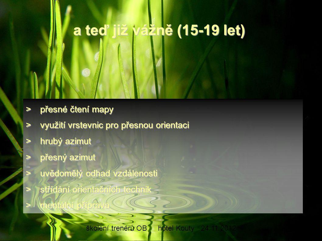 školení trenérů OBhotel Kouty24.11.2012 >přesné čtení mapy >využití vrstevnic pro přesnou orientaci >hrubý azimut >přesný azimut >uvědomělý odhad vzdá