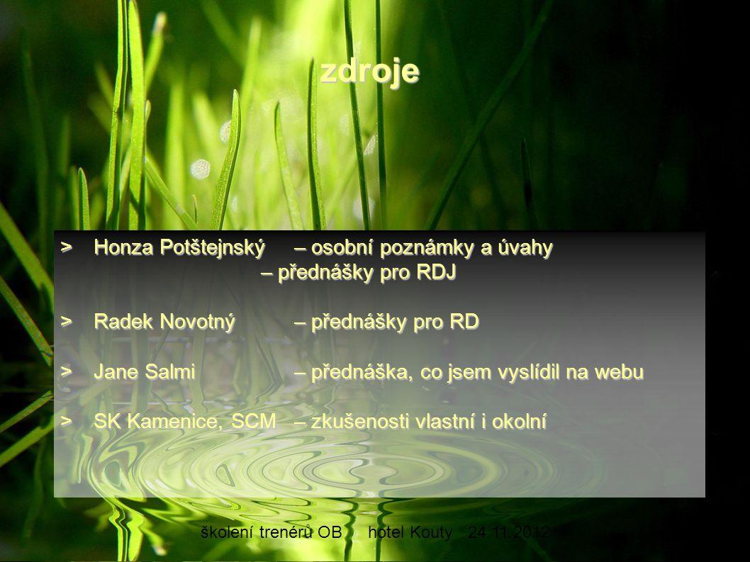 školení trenérů OBhotel Kouty24.11.2012 >Honza Potštejnský– osobní poznámky a úvahy – přednášky pro RDJ >Radek Novotný– přednášky pro RD >Jane Salmi–