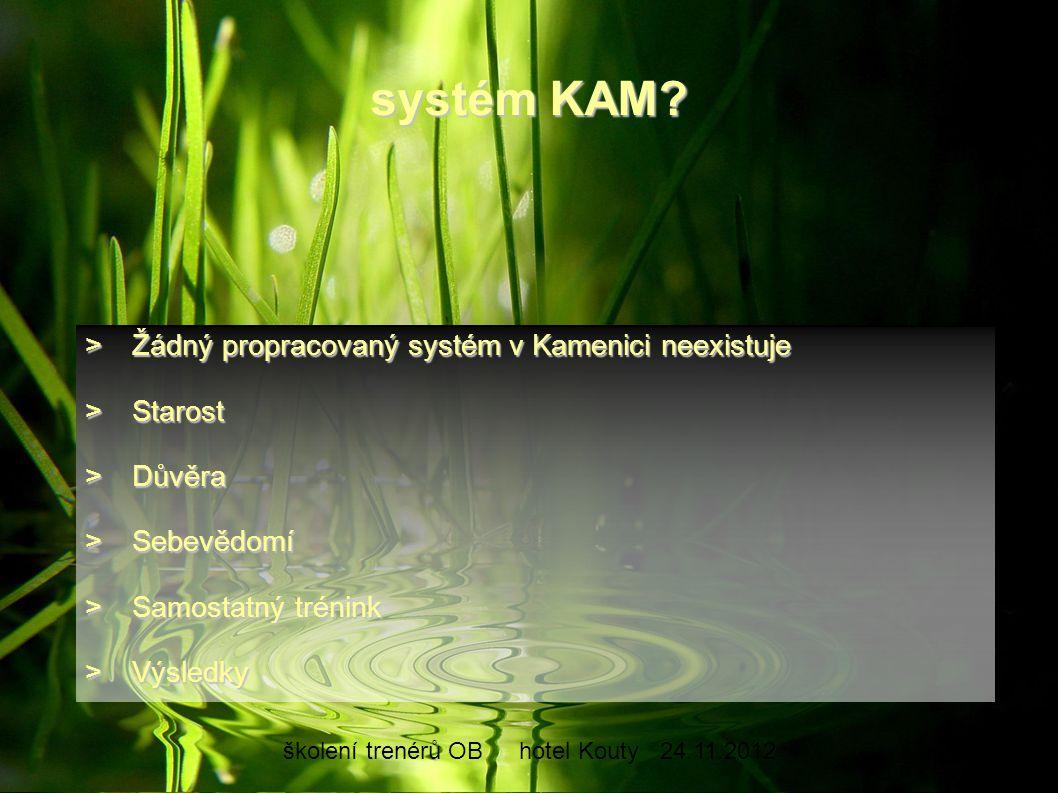 školení trenérů OBhotel Kouty24.11.2012 systém KAM? >Žádný propracovaný systém v Kamenici neexistuje >Starost >Důvěra >Sebevědomí >Samostatný trénink