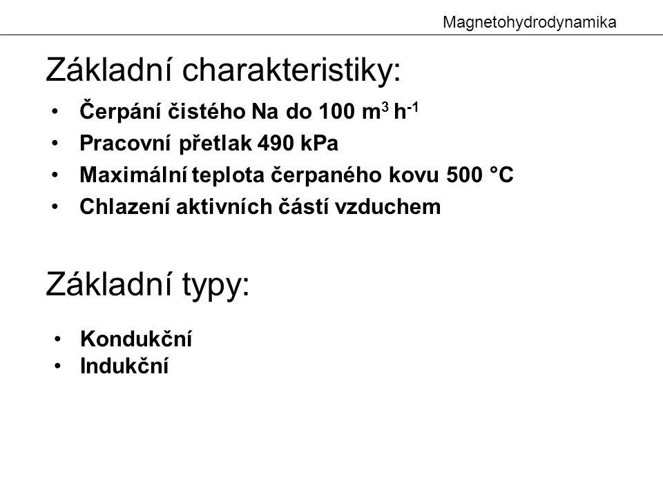 Magnetohydrodynamika Čerpání čistého Na do 100 m 3 h -1 Pracovní přetlak 490 kPa Maximální teplota čerpaného kovu 500 °C Chlazení aktivních částí vzduchem Základní charakteristiky: Kondukční Indukční Základní typy: